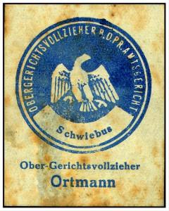 Pfändungsmarke des Gerichtsvollziehers. Schwiebus i.Nm. ca 1920