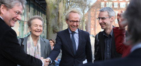 Landrat Manfred Nahrstedt, Prof. Dr. Herta Däubler-Gmelin, Prof. Dr. Sascha Spoun, Prof. Dr. Volker Grassmuck