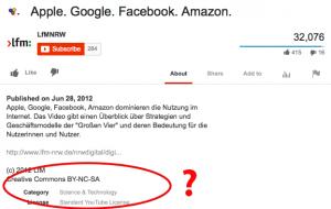 Das Video der Landesanstalt für Medien Nordrhein-Westfalen steht unter Creative Commons und unter Standard YouTube Lizenz. Welche gilt?